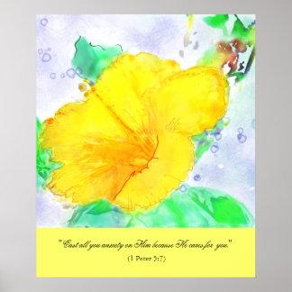 Hibiscus Watercolor & Bible Verse Poster