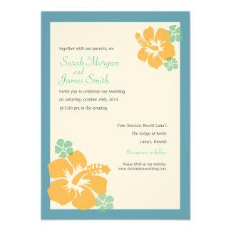 Hibiscus Wedding, hawaiian flowers, blue orange 13 Cm X 18 Cm Invitation Card