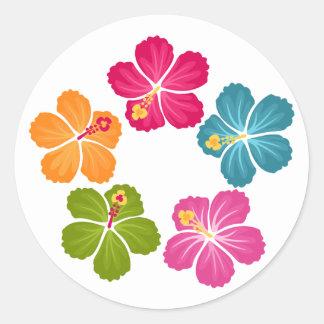 Hibiscus Wreath Classic Round Sticker