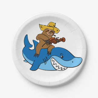 Hick sloth mounted on shark paper plate