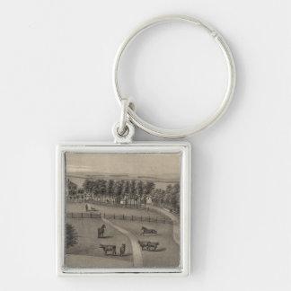 Hickmann, Nebraska Silver-Colored Square Key Ring