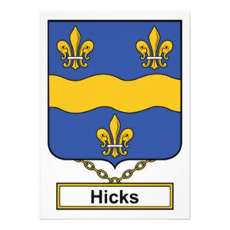 Hicks Family Crest Personalized Invites