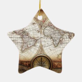 Hictorical map ceramic star decoration