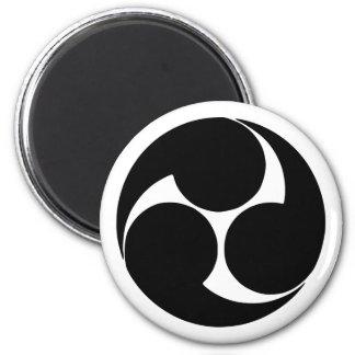 Hidari mitsudomoe, Japan 6 Cm Round Magnet