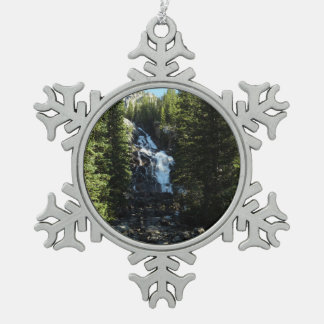 Hidden Falls in Grand Teton National Park Pewter Snowflake Decoration