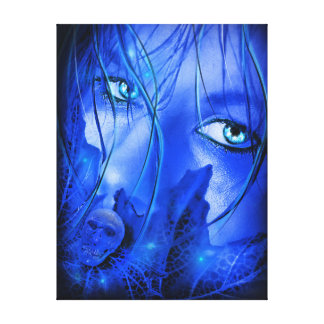 HIDDEN FEAR BLUE GIRL WITH SKULL STRETCHED CANVAS PRINTS