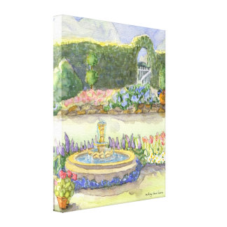 Hidden Garden Gate by the Fountain and Flowers Stretched Canvas Print