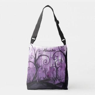 Hidden Hearts Trees Purple Fantasy Romantic Art Crossbody Bag