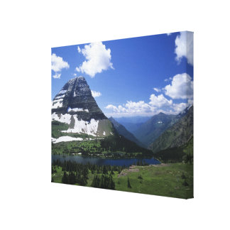 Hidden Lake, alpine meadows, rock strata, and timb Canvas Print