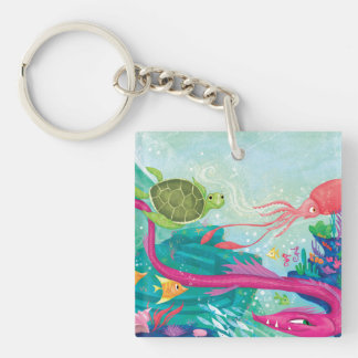 Hidden Ocean Treasures Double-Sided Square Acrylic Key Ring