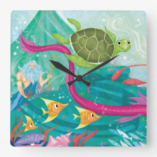 Hidden Ocean Treasures Square Wall Clock