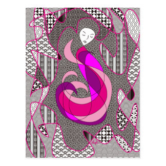 Hidden Passion Woman Pink Hair Abstract Geometric Postcard
