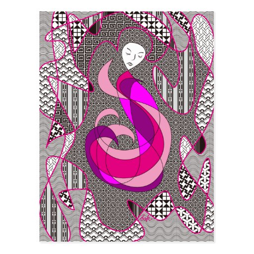 Hidden Passion Woman Pink Hair Abstract Geometric Post Card