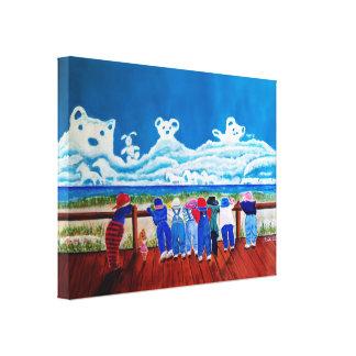 Hide and Seek Beach Art Childrens Canvas Painting Canvas Print