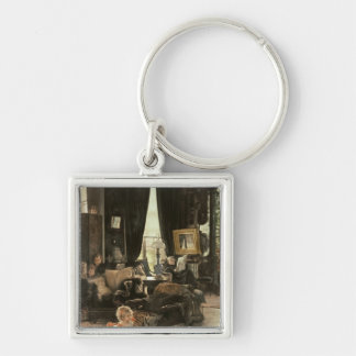 Hide and Seek, c.1880-82 Silver-Colored Square Key Ring