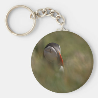 Hide and Seek Puffin Basic Round Button Key Ring