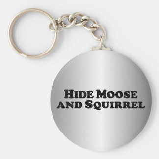 Hide Moose and Squirrel - Mixed Clothes Basic Round Button Key Ring