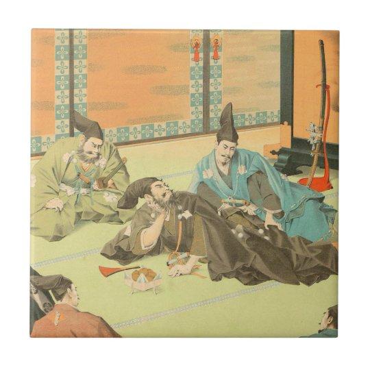 Hideyoshis Patience vintage japanese samurai art Small Square Tile