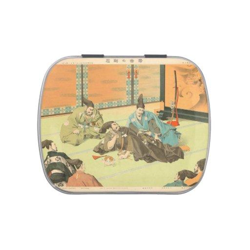 Hideyoshis Patience vintage japanese samurai art Candy Tins