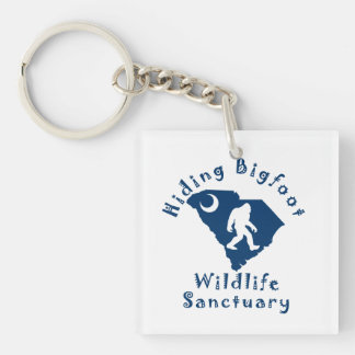 Hiding Bigfoot Wildlife Sanctuary Keychain