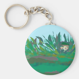 hiding-out basic round button key ring