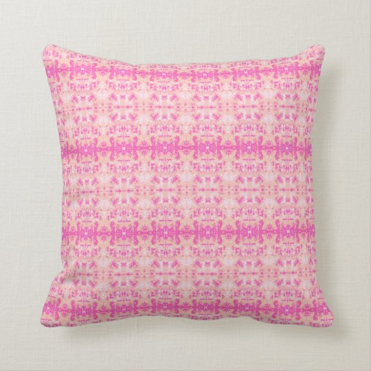 'Hiding' Pink and Orange Pattern Throw Pillow