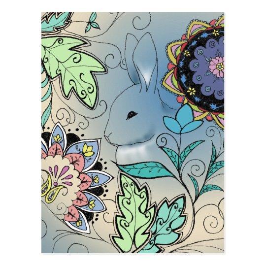 Hiding Rabbit Postcard