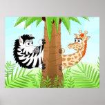 Hiding zebra and giraffe poster