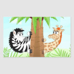 Hiding zebra and giraffe rectangular sticker