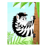Hiding zebra postcard