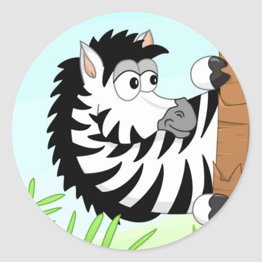 Hiding zebra round sticker