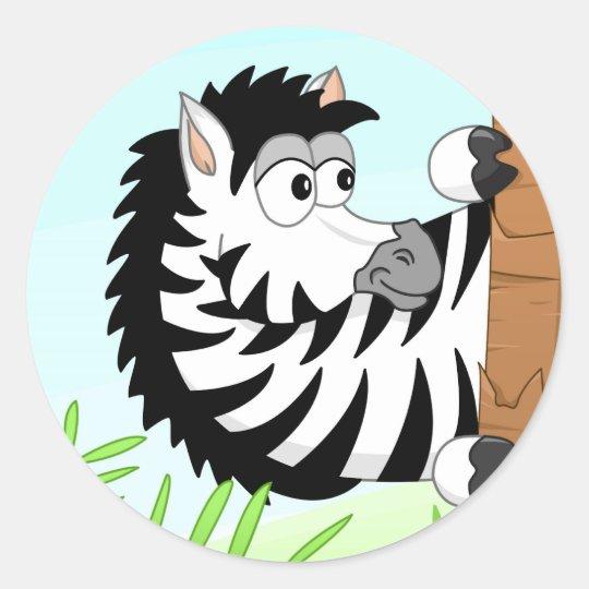 Hiding zebra round sticker