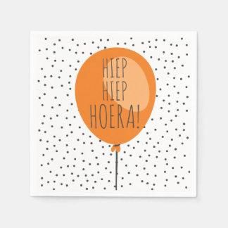Hiep Hiep Hoera Orange Balloon Dutch Birthday Disposable Napkins