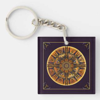 Hieroglyph Moth Mandala Art Keychain