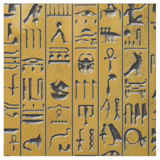 Hieroglyphics in Gold Fabric