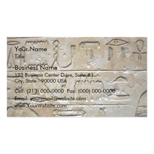 Hieroglyphics on a stone wall business card templates