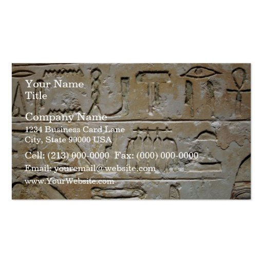 Hieroglyphics on a stone wall business cards