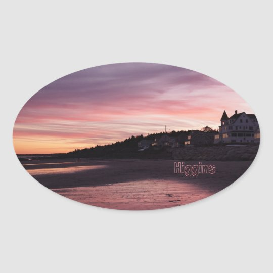 Higgins Beach Sunset Oval Sticker