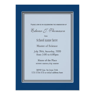 High achievement blue graduation announcement invite