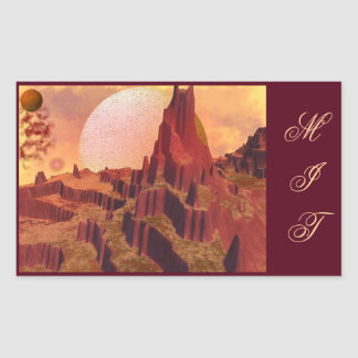 High Alien Mountains Space Scene Stickers