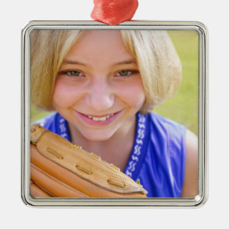 High angle portrait of a softball player smiling christmas ornament