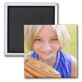 High angle portrait of a softball player smiling magnet