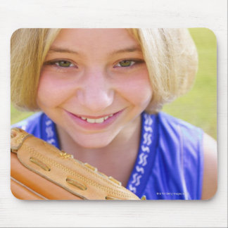 High angle portrait of a softball player smiling mouse pad