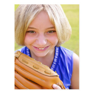 High angle portrait of a softball player smiling postcard