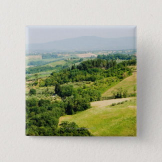 High angle view of a landscape, Siena Province, 15 Cm Square Badge