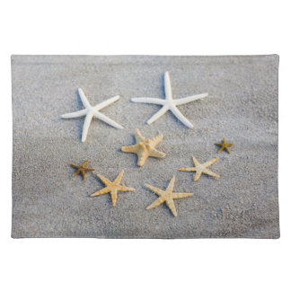 High angle view of a starfish on the beach placemat