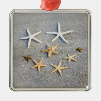 High angle view of a starfish on the beach Silver-Colored square decoration