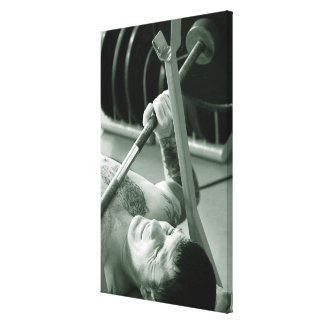High angle view of a young man exercising in a canvas print