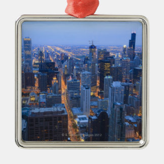 High angle view of Chicago looking south from Silver-Colored Square Decoration