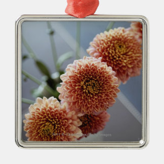 High angle view of flowers in a vase Silver-Colored square decoration